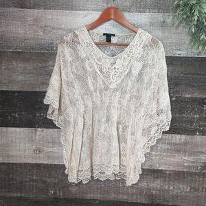 RAIN lace poncho style boho top